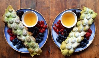 Matcha Hong Kong Egg Waffles © Michael Zee SymmetryBreakfast