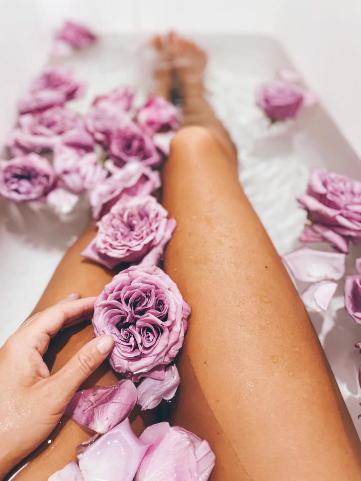 legs bathing flowers roses sensual bathtub spa woman legs flower bath relaxing